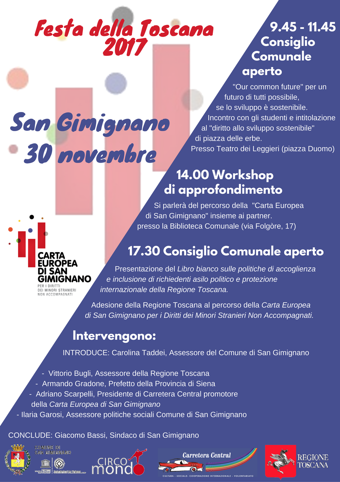 carta di san gimignano programma presentazione alla festa della toscana a san gimignano 30 novembre 2017